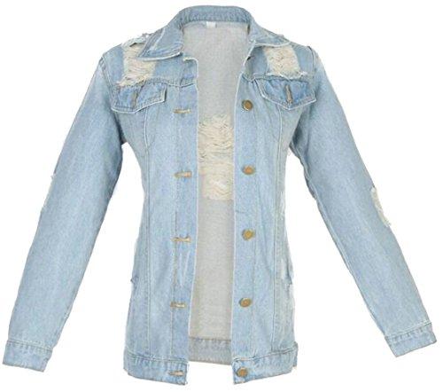 Alion Womens Denim Jacket Cotton Broken Hole Fashion Loose Coat Casual Outwear 1 S
