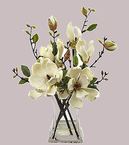 Magnolia faux floral Arrangement w//glass Vase beautiful artificial flowers new