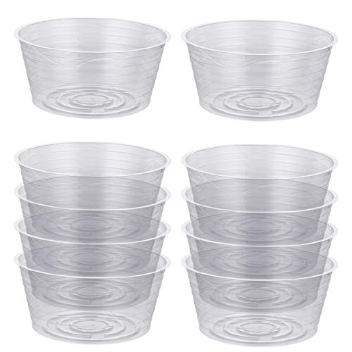 Idyllize 10 Pieces of 6 Inch Clear Thin Deep Plastic Plant Saucer Drip Tray for Pots (6
