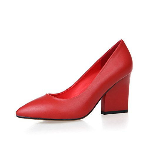 AdeeSu Womens Dress Pointed-Toe Light-Weight No-Closure Pleather Pumps Shoes SDC03382 Red ZhMYHGW