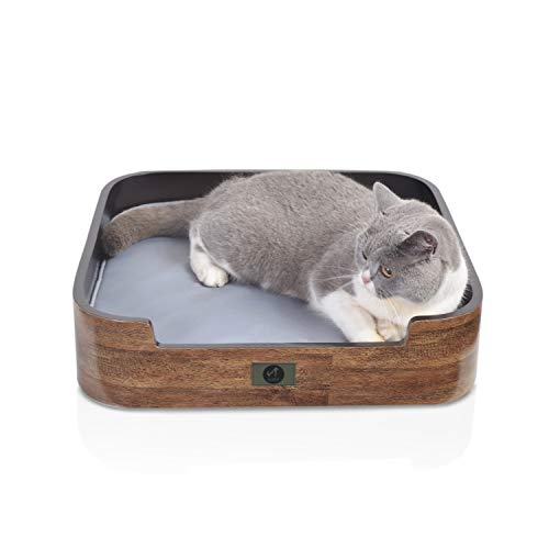 Scurrty Cat Shelf Curved Wall Mounted Cat Perch with 2 Different Mats Cat Wall Bed Modern Design, Wooden Cat Bed