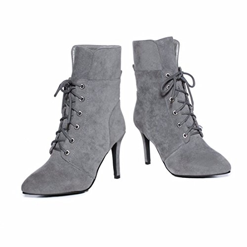 High Heels Boots Suede With Fine Size Boots,Gray,36