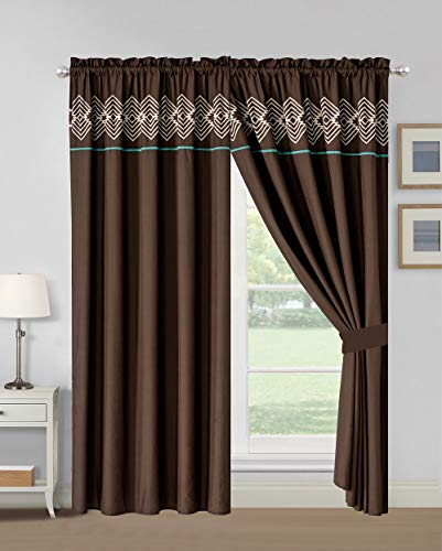 WPM WORLD PRODUCTS MART 4 Pieces Curtain Set: Coffee Brown Teal Color Luxury Embroidery Panels Drapes with tie Backs for Southwestern Navajo Room Windows- Makala (Teal Brown Room)