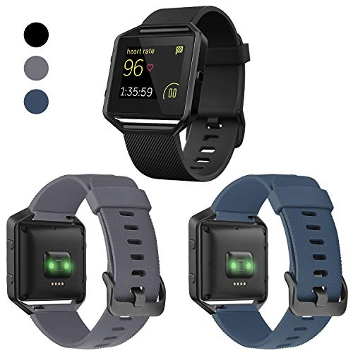 ESeekGo Compatible with Fitbit Blaze Bands, 3 Pack Silicone Band with 1 Pcs Metal Frame Compatible with Fitbit Blaze Sport Fitness Accessory Replacement Wristband for Men Women