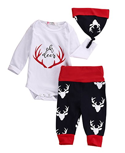 3PCS Set Newborn Baby Boys Girls Deer Romper and Pants Outfit with Hat (70(3-6M), Red)