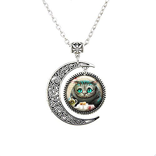(Moon Necklace,Vintage in Wonderland Pendant Necklace - Cheshire Cat Jewellery…)
