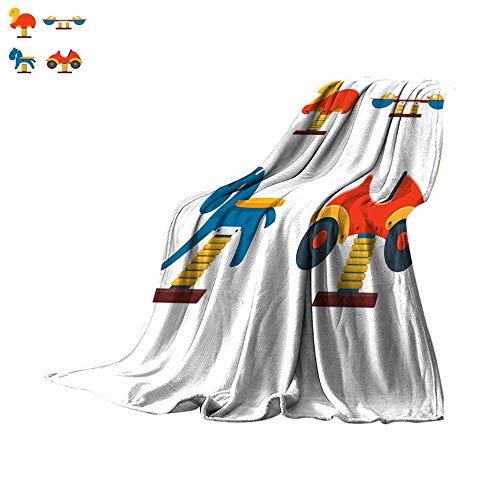 - Angoueleven Plush Throw Blanket Set of Spring Rider Toys for Kids Playground Throw Blanket 60