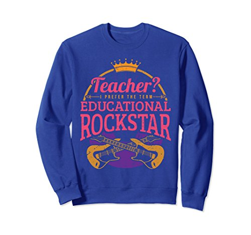 Unisex Teaching King Rock Star Hero Kids Guitars Gift Sweatshirt 2XL Royal (80 Rock Star Costumes Ideas)