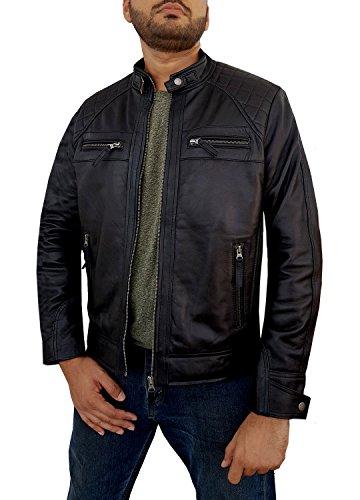 Absolute Leather Men's Savio Black Classic Genuine Lambskin Leather Jacket M (Genuine Lambskin Leather)