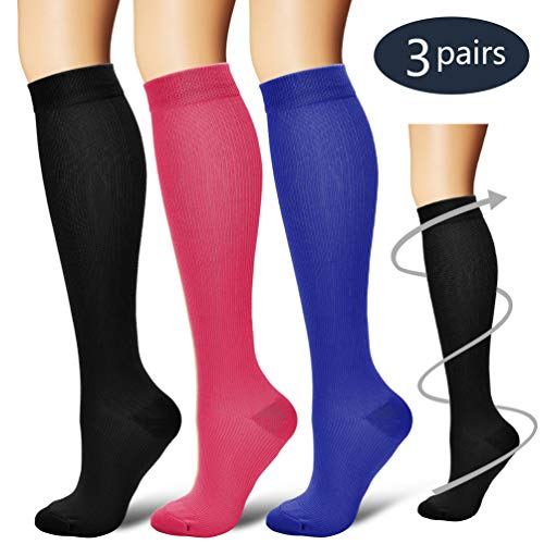 BLUETREE Compression Socks,(3 pairs) Compression Sock for Women & Men - Best For Running, Athletic Sports, Crossfit, Flight Travel, Assorted 3, Small/Medium -