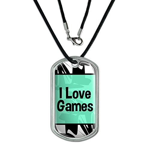 Dog Tag Pendant Necklace Cord I Love Heart Sports Hobbies Ed-Go – Games