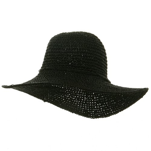 Ladies Hand Crocheted Hats-Black W32S25E