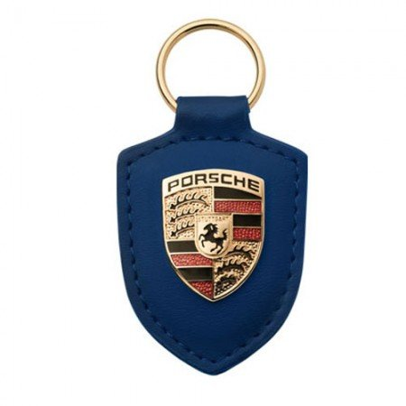 (Porsche Crest Blue Leather Keyfob)