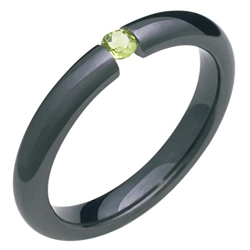 Alain Raphael Black Titanium and Peridot Stone Tension Set Ring Comfort Fit 3mm Wide Wedding Band 3 Stone Tension Set Ring