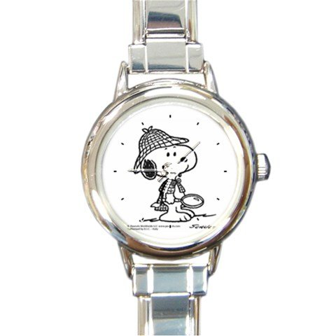 Snoopy The Peanuts Sherlock Hound Round Italian Charm Watch