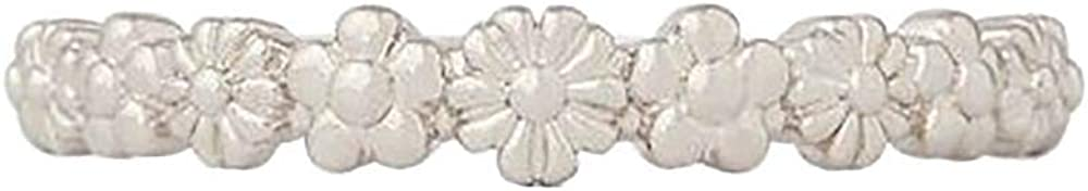Pura Vida Silver-Plated Floral Stackable Ring - Sterling Silver Band, Sizes 5-9