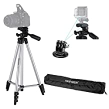 Neewer® Professional Photo Studio Camera Tripod with Universal Tripod Mount Adapter for Gopro2/3/3+/4,Gopro Hero Silver & Black Edition,the Tripod Compatible with Canon Nikon Sony Samsung Pentax Panasonic Olympus Fuji and Other Digital Cameras
