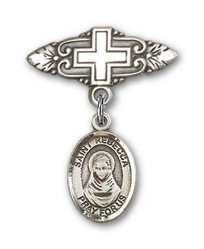 Icecarats Créatrice De Bijoux En Argent Sterling St. Rebecca Broche De Badge Charme Avec Une Croix X 3/4