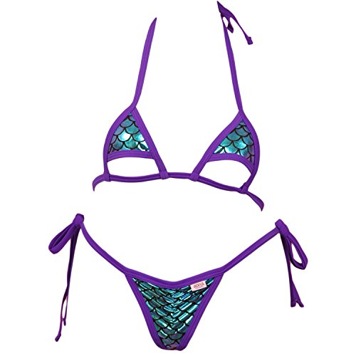 Micro Bikini Top w/Cut Out Bottom Accent and Scrunchy Front Tie Side G-String Panty - Purple