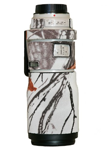 LensCoat Lens Cover for Canon 300IS f/4 camouflage neoprene camera lens protection sleeve (Realtree AP Snow)