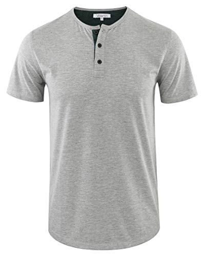 Vetemin Men's Casual Soft Solid Retro Workout Gym Short Sleeve Henley Tee Shirt H.Gray/Dk.Green XXL