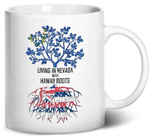 White Mug Hawaii (Tenacitee Living In Nevada with Hawaii Roots Coffee Mug, 11oz, White)