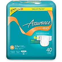 Assurance Stretch Briefs with Tabs, Ultimate Absorbency, Small/Medium, 40 count (UNISEX)