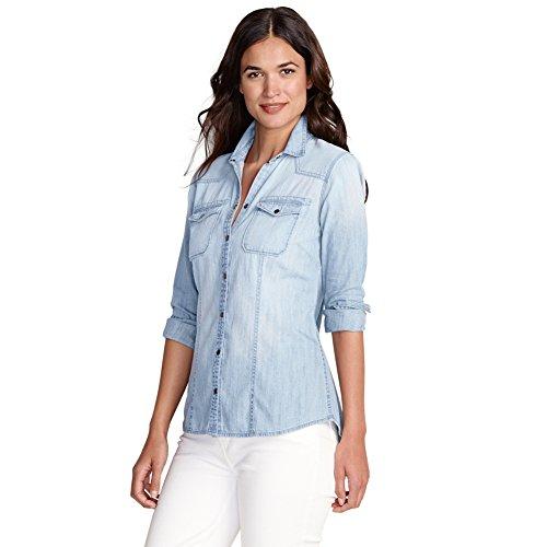 Eddie Bauer Womens Long-Sleeve Denim Shirt, Pool L