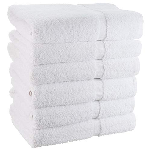 White Cotton Bath Towels for Hotel-Spa-Pool-Gym - Lightweight Soft Absorbent Ring Spun Cotton Bathroom Towel - 24x50 Inch - 6 Pack - - Resort Washcloth Collection