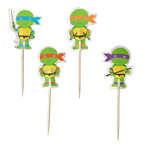 24PCS Teenage Mutant Ninja Turtles Cupcake Toppers For Kids Birthday Party Cake Decorations -