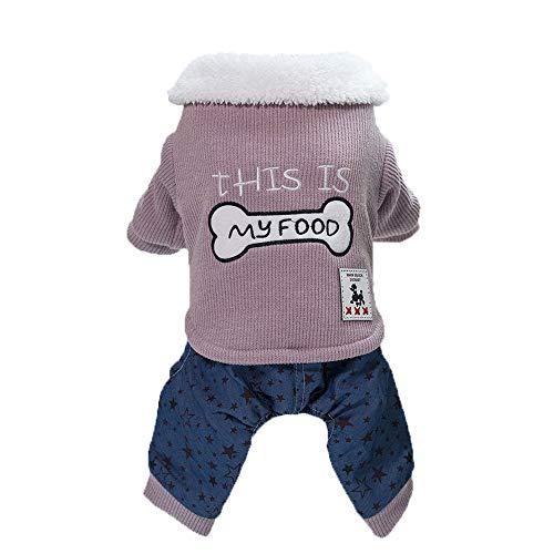 PENATE Dog Sweater Winter Warm Small Pet Apparel Mini Putty Cartoon Skull Ptinted Shirt Soft Cotton Plush Collar Jacket Cute Knitted Elastic Coat Sweatshirt Halloween for Doggy