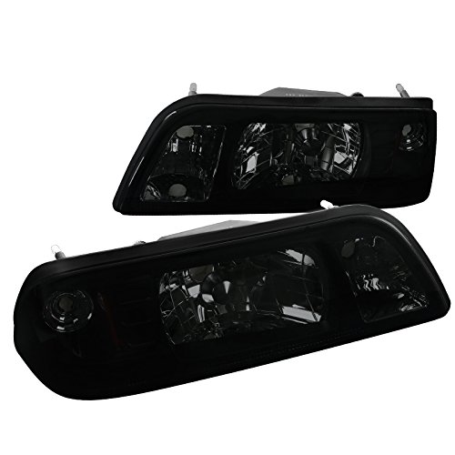 MST87G-RS Ford Mustang Lx Gt Smoked Headlights w/ Corner Lamps 1Pc. (1993 Mustang Headlights)