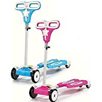 Jukkre 4 Wheeled Metal Folding Skate Scooter with Light up Wheels and Height Adjustable Handlebar _ 2019_Blue_Pink_Multi