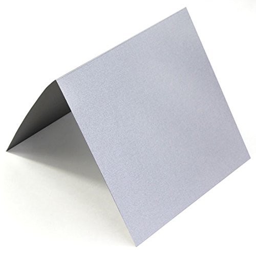 - 5 1/4 Square Silver Metallic Folding Invitation Cards, Stardream 105lb, 25 pack