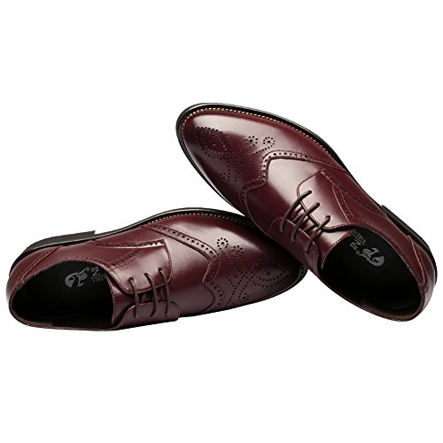 Rismart British Style Moda Uomo Scarpe Stringate Oxford In Pelle Brogue Dress Bordeaux 856 Us7
