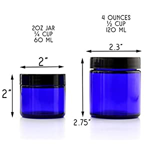 Combo Pack of 2-Ounce & 4-Ounce Cobalt Blue Glass Straight Sided Cosmetic Jars (Six 2oz / Six 4oz); 60ml / 120ml Capacity, BPA-Free Lids