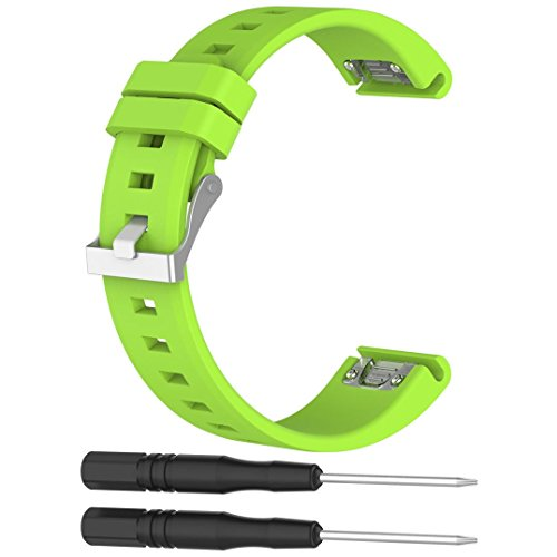 Price comparison product image Alonea Replacement Silicagel Quick Install Band Strap For Garmin Fenix 5 Watch (Green)