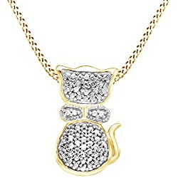 White Natural Diamond Cat Pendant in 14k Yellow Gold Over Sterling Silver