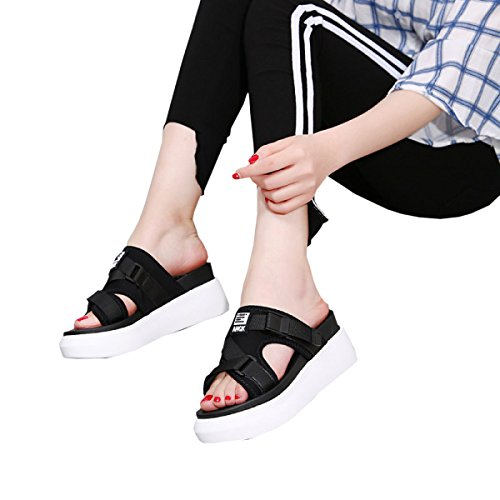 For 38 DFB Comfort Slippers Mouth Black Casual Fish Quality Ribbon Thick Sandals Slippers Women's Bottom Trend Shoes Women 6tr6T