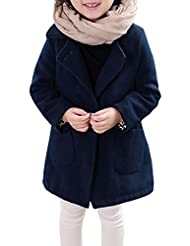 uxcell® Girls Long Sleeves Double Breasted Tunic Worsted Coat