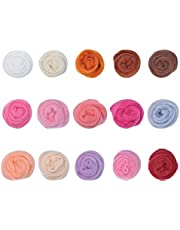 Wool Roving Felting Suit, 15 Color Needle Felting Wool for Diy Craft Materials and Yarn Craft Supplies