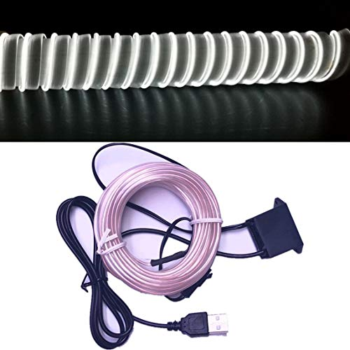 M.best USB Neon LED Light Glowing Electroluminescent Wire/El Wire for Automotive Interior Car Cosplay Decoration with 6mm Sewing Edge (5M/15FT, White)