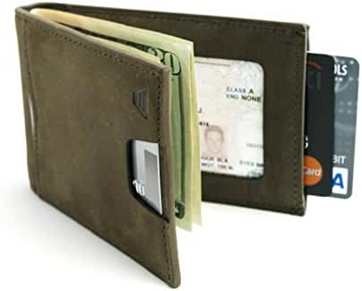Andar Leather Slim RFID Blocking Minimalist Bifold Wallet with Money Clip made of Full Grain Leather - The Apollo