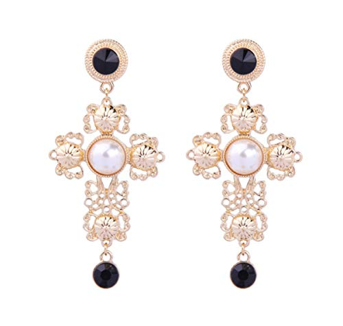 Skyscraper Retro Baroque Pearl Cross Shape Earrings Drop Hook Earrings for Women
