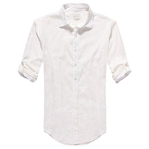 Zbrandy Mens Cotton Linen Blend Shirts Ultra Light Colorful Shirts Colour White Size L