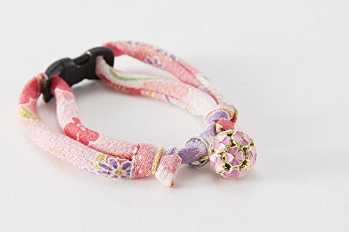 Necoichi Chirimen Cat Collar with Clover Bell (Pastel Pink) by Necoichi (Image #5)