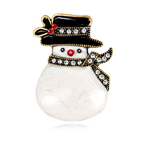 - YAVONA Cartoon White Crystal Snowman Brooches pins for Women Brooches Decorations Jewelry (Vintage Gold)