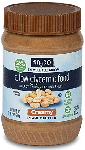 Low Sugar Peanut Butter - Fifty 50 Foods Low Glycemic, No Added Sugar, Creamy Peanut Butter, 18 Ounce (Pack of 6)