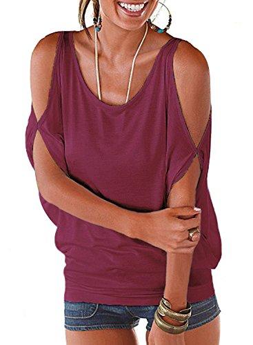 Ranphee Womens Cold Shoulder Tops Plain Short Sleeve Summer Casual Loose T-Shirt