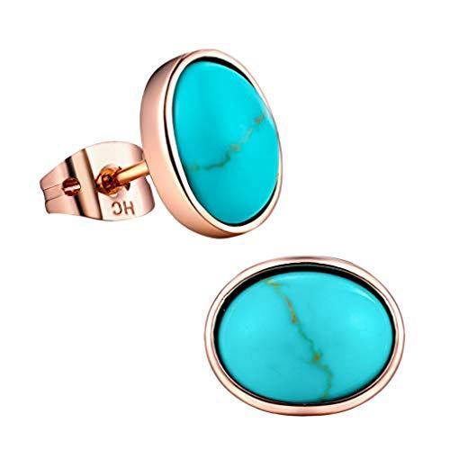 Gold Rose Turquoise Earrings (Turquoise Stud Earrings for Women Girls 18k Rose Gold Plated Oval Birthstone Earrings as Christmas Gift)